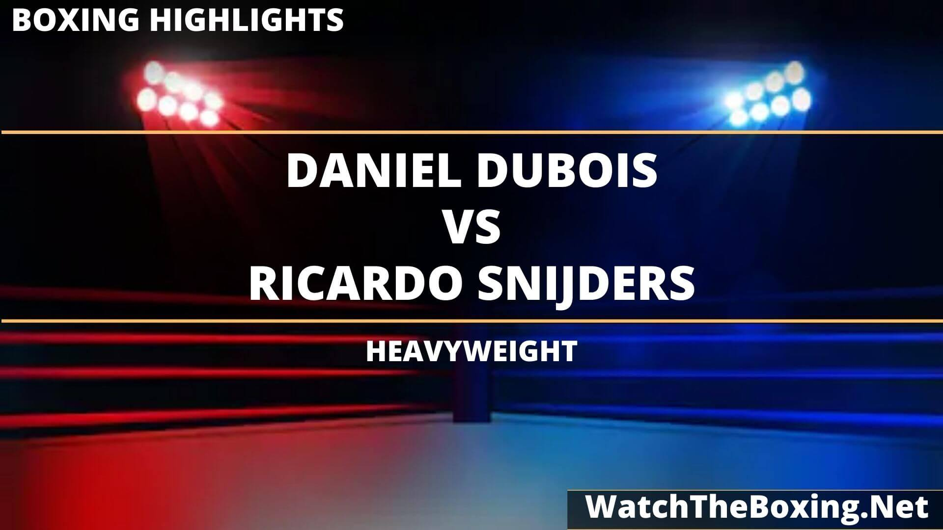 Daniel Dubois Vs Ricardo Snijders Highlights 2020